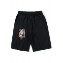 Unisex Summer Trendy Letter OFF Character Printed Drawstring Waist Black Cotton Sweat Shorts