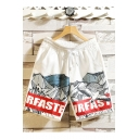 Summer New Fashion Seagull Letter Printed Drawstring Waist Casual Relaxed Shorts