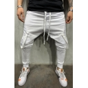 Men's Hip Pop Style Simple Plain Ribbon Embellished Drawstring Waist Casual Pencil Pants