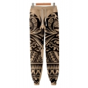 Cool Fashion Unique Tattoo Printed Drawstring Waist Casual Joggers Cotton Sweatpants