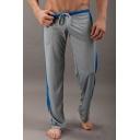 Men's Popular Fashion Colorblock Stripe Side Drawstring Waist Casual Loose Sweatpants