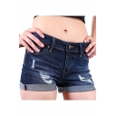 Summer Distressed Ripped Rolled Cuff Blue Denim Shorts
