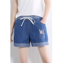 Girls Summer Simple Pencil Print Drawcord Waist Straight Fit Blue Denim Shorts