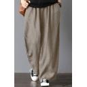 Summer Trendy Simple Plain Elastic Waist Pocket Loose Leisure Wide Legs Linen Pants for Women
