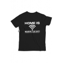 Funny Letter HOME IS WHERE THE WIFI Print Short Sleeve Cotton Graphic Tee