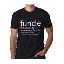 Summer Funny Letter FUNCLE Printed Round Neck Short Sleeve T-Shirt