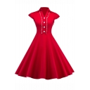 Womens Hot Fashion V-Neck Vintage Red Cap Sleeve Heart Button Embellished Midi Flare Dress for Evening Party