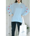 Girls Cute Sweet Heart Embroidery Long Sleeve Casual Loose Sweatshirt