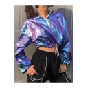 Cool Girls Hip Hop Style Laser Purple Half-Zip Long Sleeve Drawstring Hem Cropped Hoodie