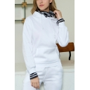 Womens New Fashion Striped Patched Fake Two-Piece Long Sleeve Fitted Hoodie