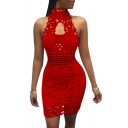 Popular Plain Sleeveless Cutout Lace Skinny Fitted Mini Dress