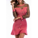 Trendy Sexy Fancy Sheer Mesh Patchwork Button Down Round Neck Long Sleeve Ruffle Hem Mini A-Line Dress