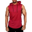 Mens Summer Hot Trendy Patched Plain Sleeveless Hooded Sport Tank Top