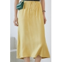 Summer Hot Popular Plain Split Back Drawstring Waist Draped Midi Skirt for Wommen