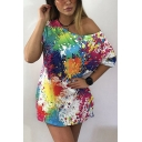 Womens Cool Colorful Splash-Ink Painting Oblique Shoulder Short Sleeve Longline Casual Tee