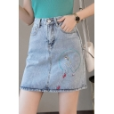 Sweet Girls Hot Fashion Cartoon Embroidery Pocket Back A-Line Mini Denim Skirt