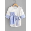 Girls Unique Plaid Patched Bow-Tied Detail Round Neck White T-Shirt