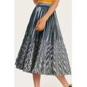 Summer Womens Hot Sale Fitted High Waist Fishtail Hem Maxi Pleated Metallic Skirt