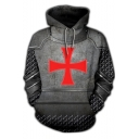 Knights Templar Cross Pattern Long Sleeve Sport Loose Hoodie