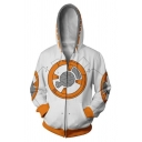Star Wars Robot 3D Printed White Long Sleeve Zip Up Cosplay Hoodie