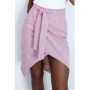 Womens Purple Hot Fashion Split Front Gather Waist Self-Tie Mini Wrap Skirt