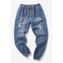 Fashion Simple Plain Drawstring Waist Elastic Cuffs Blue Casual Ripped Jeans for Guys