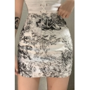 Summer Hot Sexy High Waist Bacon Ink Painting Print Mini A-Line Skirt