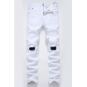 Guys Trendy Solid Color Slim Fit Destroyed Ripped Jeans with Holes