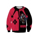 Halloween Horrors Clown Print Round Neck Long Sleeve Black and Red Sweatshirt