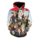 New Trendy 3D Comic Women Collection Long Sleeve Loose Casual Drawstring Hoodie