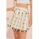 Summer Hot Sale Bow-Front High Waist Tassel Hem Mini A-Line Pleated Skirt