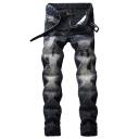 Popular Fashion Vintage Washed Stretch Regular Fit Men's Black Ripped Jeans