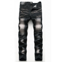 Men's Stylish Cool Washed Stretch Regular Fit Black Distressed Ripped Jeans
