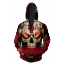 Stylish Cool Smog Skull Print Long Sleeve Zip Up Fitted Drawstring Hoodie