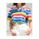 Summer Girls Rainbow Striped Printed Short Sleeve Turn-Down Collar Crop Polo Shirt