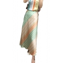 Summer Hot Stylish Stripped Print Zip-Back Flowy Maxi Silk Skirt