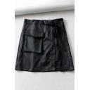 Summer Womens Hot Sale Black Bag Bucket Belt Pocket Front Split Mini High Waist A-Line Skirt