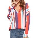 Hot Stylish Striped Print Colorblock V Neck Long Sleeve Casual Loose Blouse