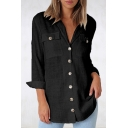Fashion Womens Plain V Neck Button Front Chest Front Pocket Button Down Loose Shirts
