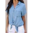 New Arrival Plain V Neck Short Sleeve Chest Front Pocket Button Down Knotted Hem Denim Shirt