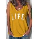 Hot Trendy Womens Plain Life Letter Scoop Neck Sleeveless Oversize Loose Tank T-Shirts