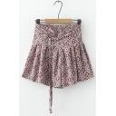 Women Hot Stylish High Waist Tribal Print High Waist Fitted Simple Mini Chiffon Skirt