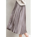 Womens Hot Fashion Elastic Waist Plain Chic Pleated Simple Loose Midi Puffy Skirt
