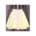 New Arrival Womens High Waist Pleated Zip-Back A-Line Mini Skirt