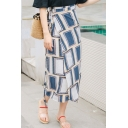 New Arrival Womens Hot Fashion Tie-Waist Geometric Print Fitted Midi Wrap Skirt