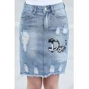Summer Hot Stylish Womens Blue Ripped Letter Don Print Midi Pencil Denim Skirt