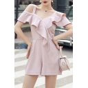 Summer Hot Trendy Pink One Shoulder Striped Print Ruffle Trim Fitted Rompers