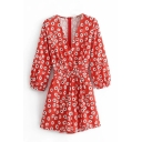 Summer Fashion Womens Red Plunge V Neck Long Sleeve High Waist Floral Print Fitted Beach Rompers