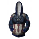 Quantum Battle Suit Cosplay Costume Star Printed Blue Fitted Zip Up Hoodie