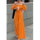 Womens Popular Sweet Off Shoulder Puff Sleeve Wide Leg Casual Loose Shirred Jumpsuits